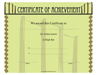 """""""Gymnastics High Bar Certificate of Achievement Template"""""""