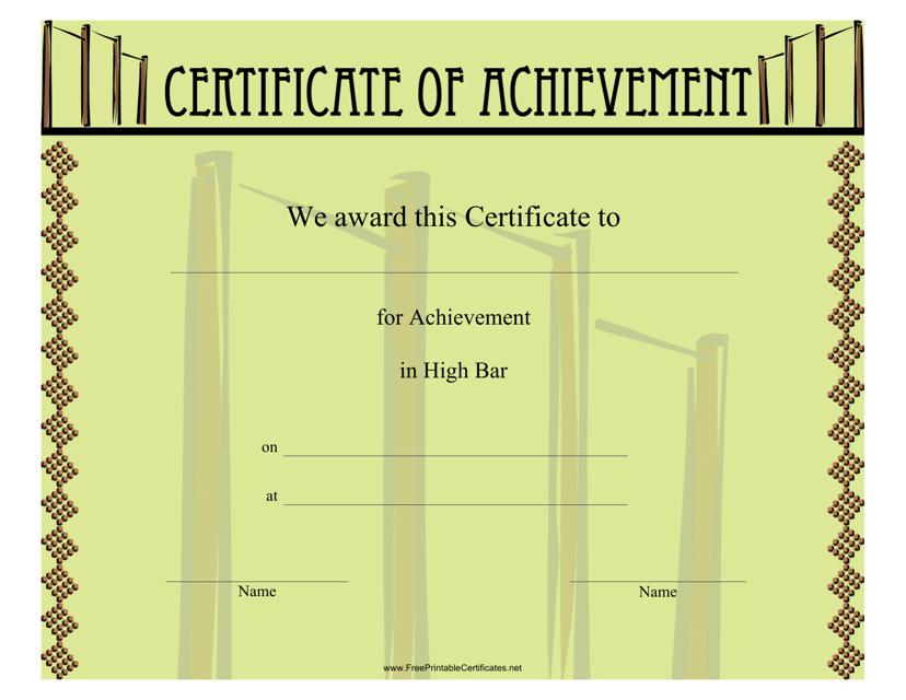 """Gymnastics High Bar Certificate of Achievement Template"" Download Pdf"