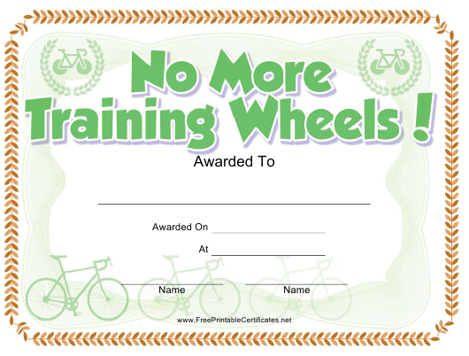 """Bicycle Certificate Template"" Download Pdf"