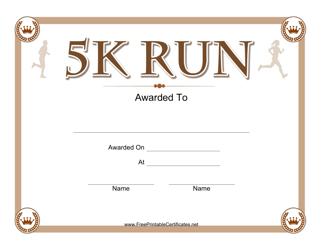"""""""5k Run Certificate Template"""""""