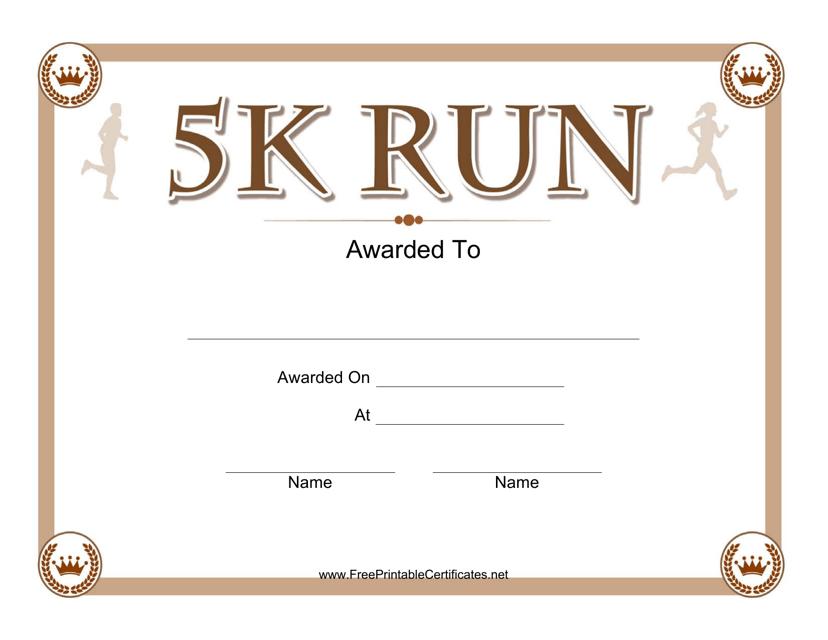 """5k Run Certificate Template"" Download Pdf"