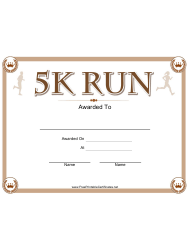 5k Run Certificate Template