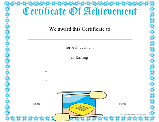"""""""Rafting Certificate of Achievement Template"""" Download Pdf"""