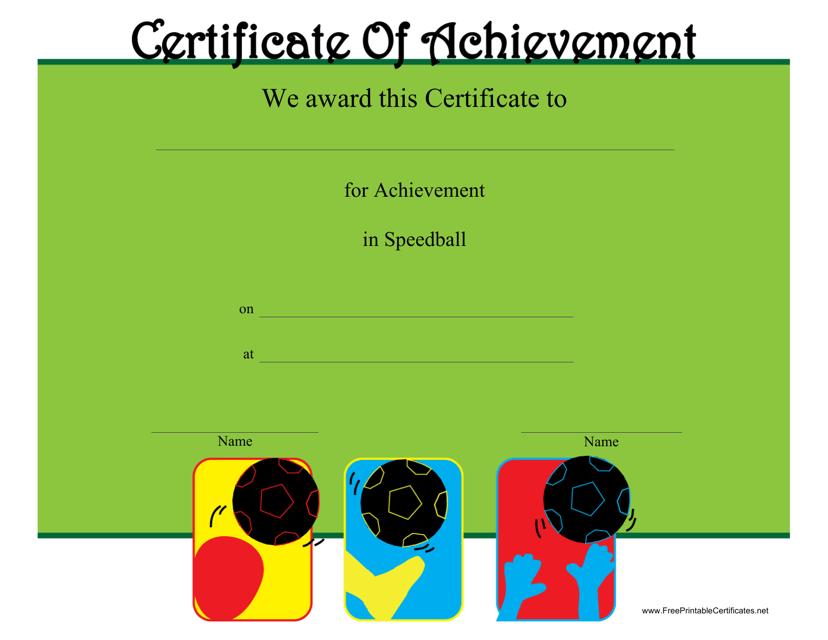 """Speedball Certificate of Achievement Template"" Download Pdf"