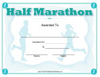 """Half Marathon Award Certificate Template"""