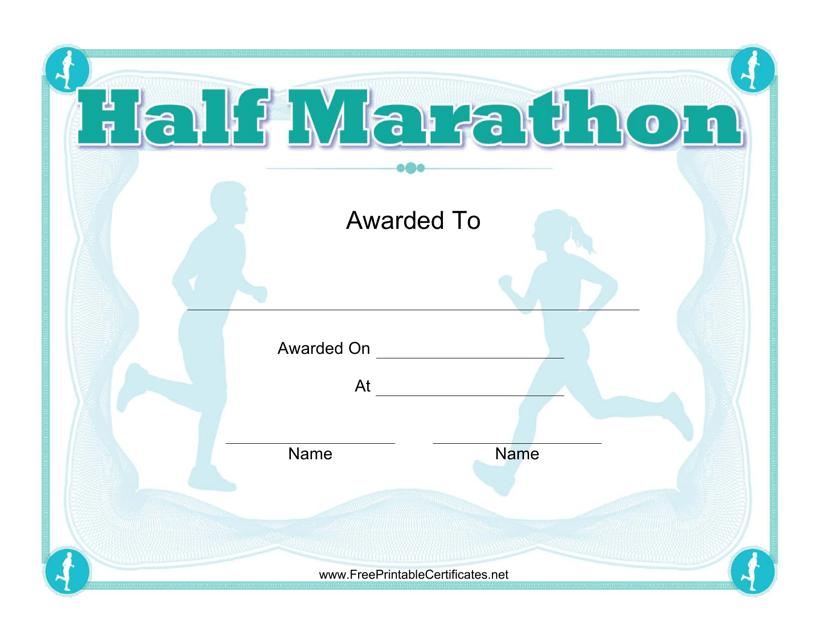 """Half Marathon Award Certificate Template"" Download Pdf"