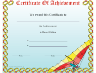 """Hang Gliding Certificate of Achievement Template"""