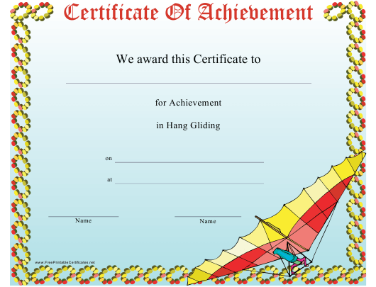 """""""Hang Gliding Certificate of Achievement Template"""" Download Pdf"""