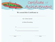 """Body Boarding Certificate of Achievement Template"""