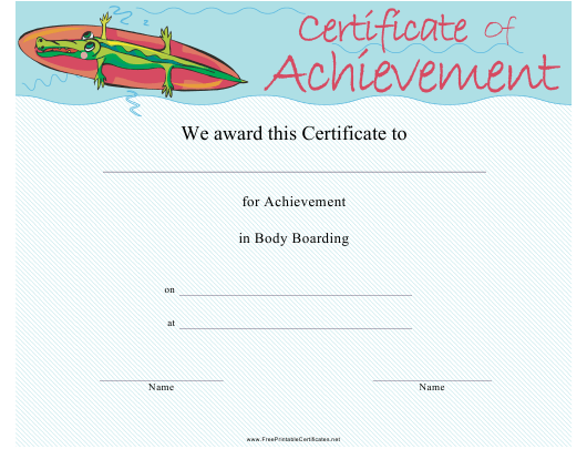 """Body Boarding Certificate of Achievement Template"" Download Pdf"