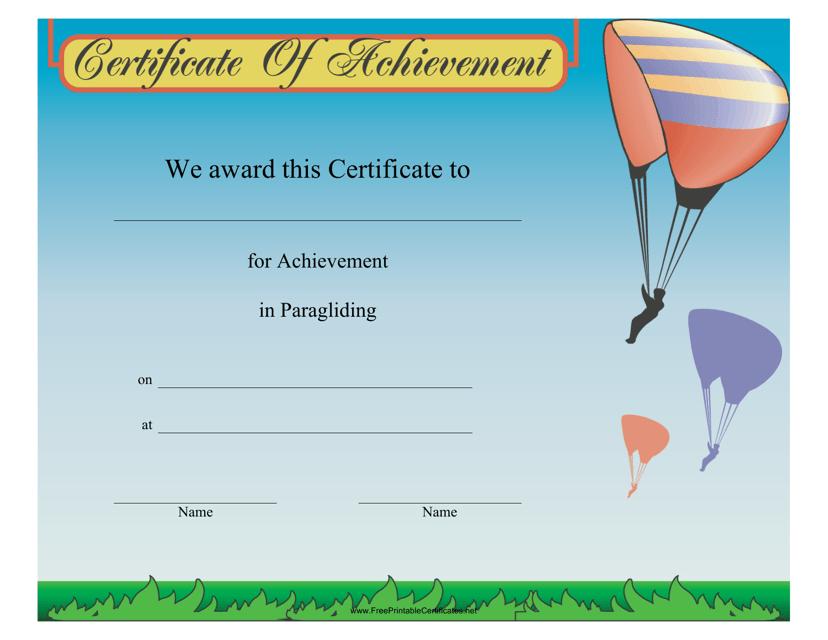 """Paragliding Certificate of Achievement Template"" Download Pdf"