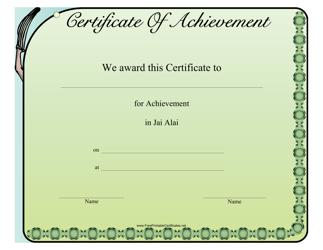 """Jai Alai Certificate of Achievement Template"""