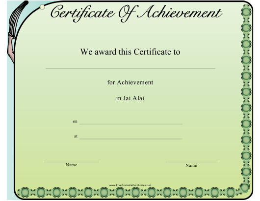 """Jai Alai Certificate of Achievement Template"" Download Pdf"