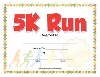 """5k Run Award Certificate Template"""