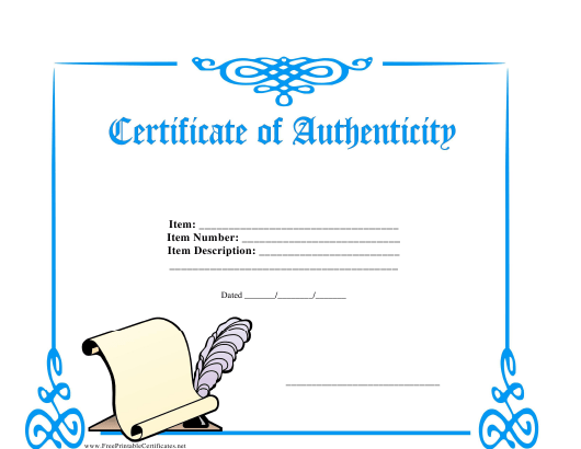 """""""Certificate of Authenticity Template"""" Download Pdf"""