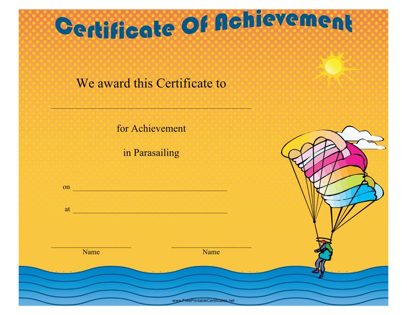 """Parasailing Certificate of Achievement Template"" Download Pdf"