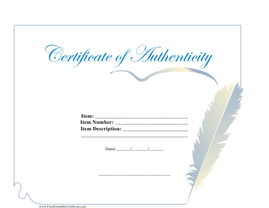 """Certificate of Authenticity Template"" Download Pdf"