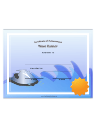 Wave Runner Certificate Of Achievement Template