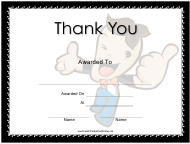 """""""Thank You Large Certificate Template"""""""