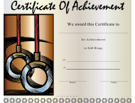 """Gymnastics Still Rings Certificate of Achievement Template"""