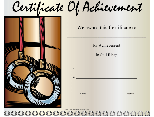 """Gymnastics Still Rings Certificate of Achievement Template"" Download Pdf"