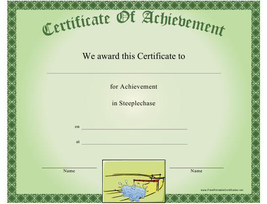 """""""Steeplechase Certificate of Achievement Template"""" Download Pdf"""