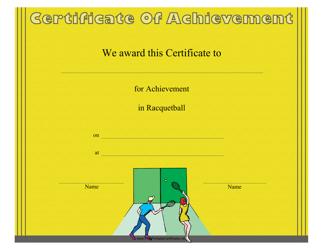 """Racquetball Certificate of Achievement Template"""