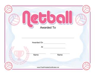 """""""Netball Pink Certificate Template"""""""