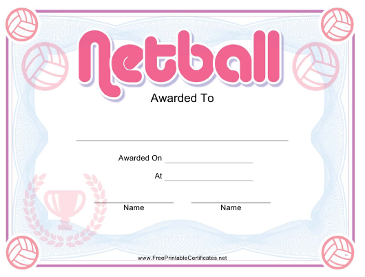 """Netball Pink Certificate Template"" Download Pdf"
