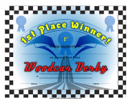 """Woodcar Derby 1st Place Certificate Template"""