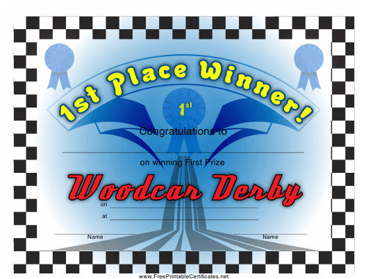 """Woodcar Derby 1st Place Certificate Template"" Download Pdf"