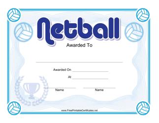 """""""Netball Blue Certificate Template"""""""
