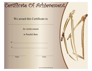 """Gymnastics Parallel Bars Certificate of Achievement Template"""