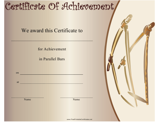 """Gymnastics Parallel Bars Certificate of Achievement Template"" Download Pdf"