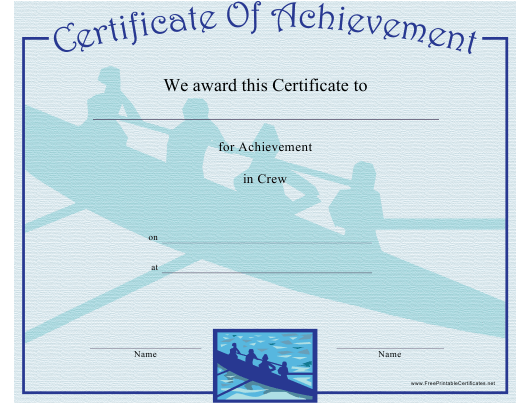 """Crew Certificate of Achievement Template"" Download Pdf"