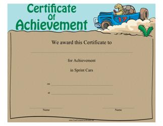 """Sprint Cars Certificate of Achievement Template"""