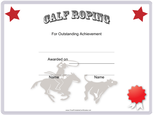 """Rodeo Calf Roping Certificate of Achievement Template"" Download Pdf"