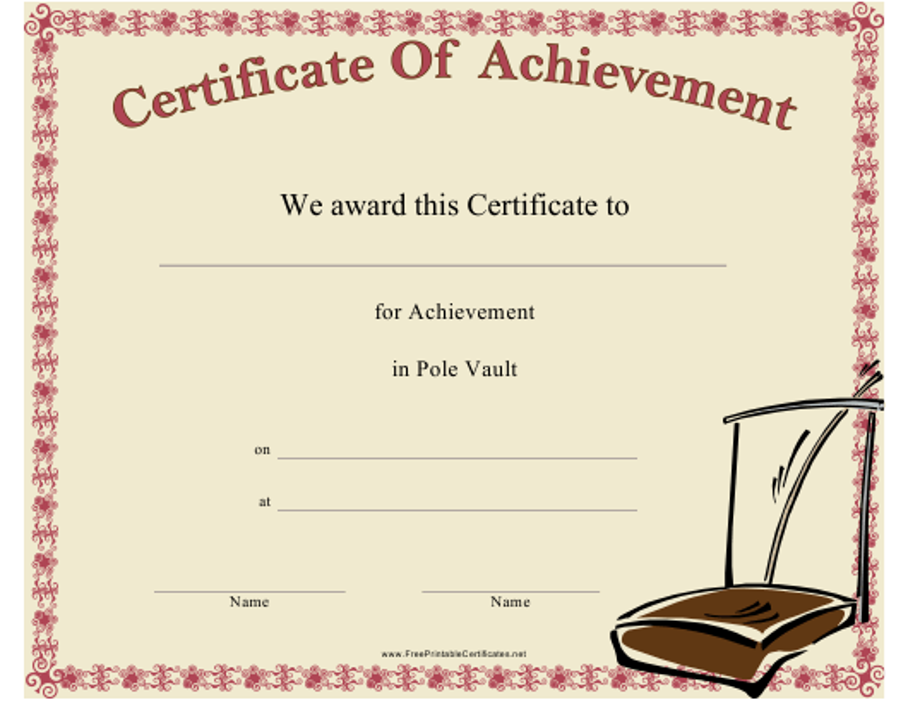 """Pole Vault Certificate of Achievement Template"" Download Pdf"