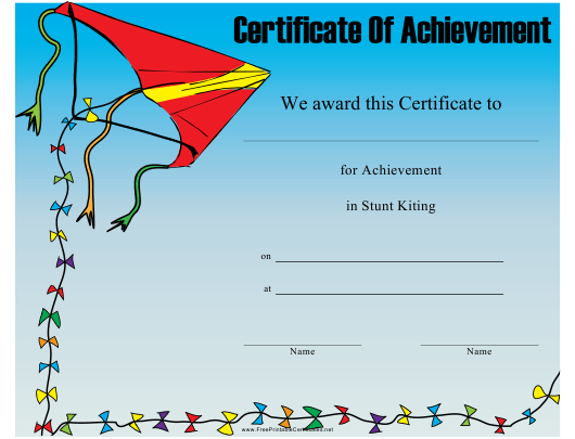"""""""Stunt Kiting Certificate of Achievement Template"""" Download Pdf"""
