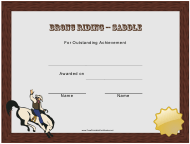 """Saddle Bronc Riding Rodeo Certificate of Achievement Template"""