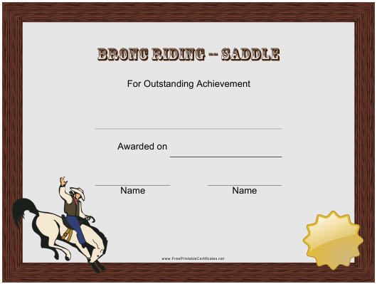 """""""Saddle Bronc Riding Rodeo Certificate of Achievement Template"""" Download Pdf"""