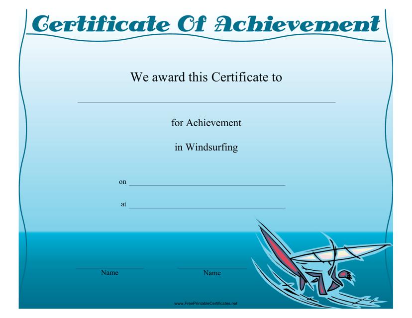 """Windsurfing Certificate of Achievement Template"" Download Pdf"