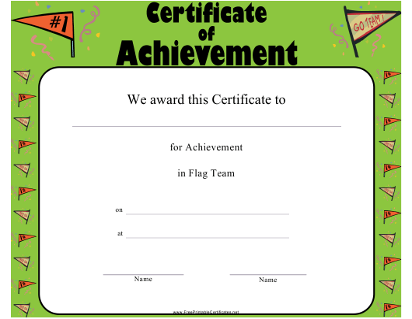"""Flag Team Certificate of Achievement Template"" Download Pdf"