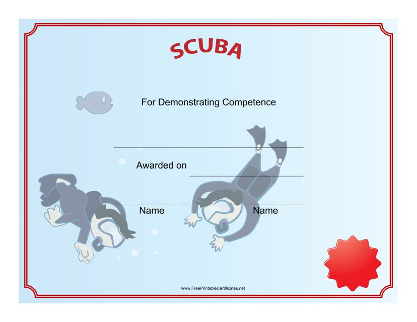 """Scuba Diving Certificate of Achievement Template"" Download Pdf"
