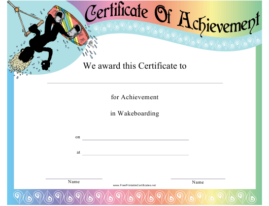 """""""Wakeboarding Certificate of Achievement Template"""" Download Pdf"""