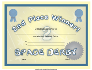 """Space Derby 2nd Place Certificate Template"""