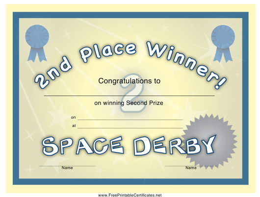 """""""Space Derby 2nd Place Certificate Template"""" Download Pdf"""