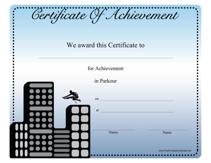 """Parkour Certificate of Achievement Template"" Download Pdf"