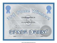 """""""Space Derby 3rd Place Certificate Template"""""""