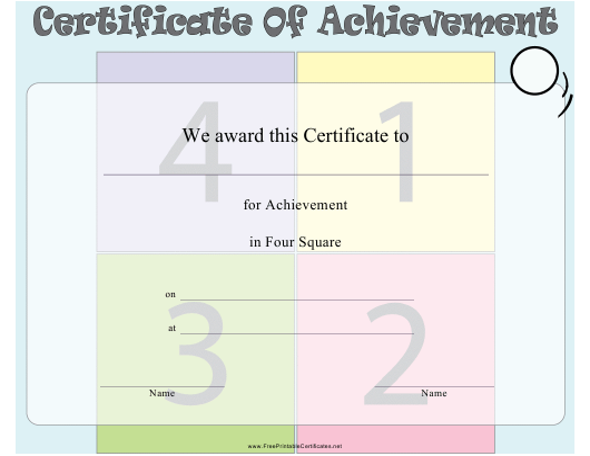 """Four Square Certificate of Achievement Template"" Download Pdf"